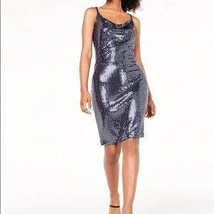 Junior metallic cowl-neck dress